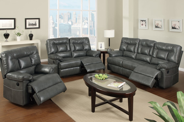 modern gray leather reclining sofa loveseat power motion couch living contemporary sofas. Black Bedroom Furniture Sets. Home Design Ideas