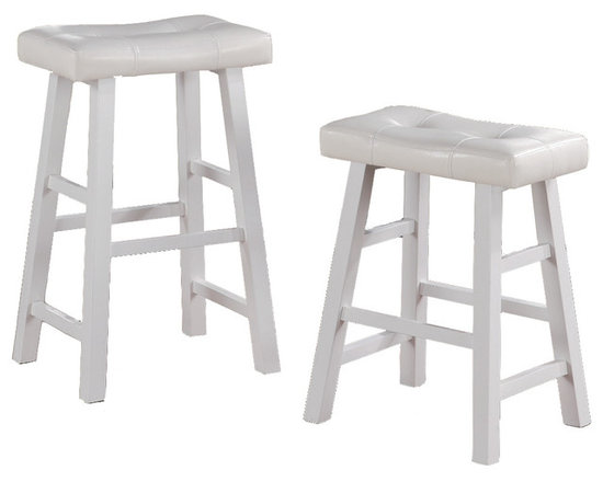 Adarn Inc. - Set of 2 Barstools Stools Faux Leather Saddle Seat, White, Counter Height - Contemporary fashion for your living spaces delivered with these 3 colors framed stools with faux leather rectangular shaped seat cushions. This bar stool is designed with pure modern composition. It's seating is covered in White, Brown, Black/ Brown faux leather with a medium shine for a luxurious feel. The stool legs resemble a painters bench for a casual presence, making it a perfect fit for any dining or entertaining experience. Available in a counter Height stool and barstool height.
