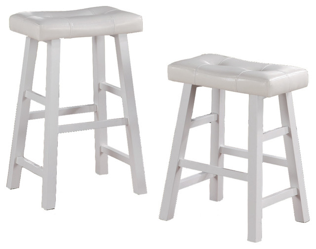 Set Of 2 Barstools Stools Faux Leather Saddle Seat White