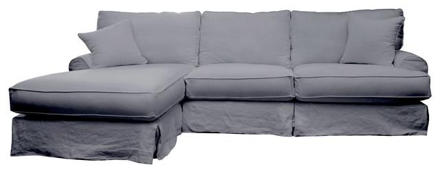 Hamptons Slipcover Sectional Left 120 Sofa Grey Linen