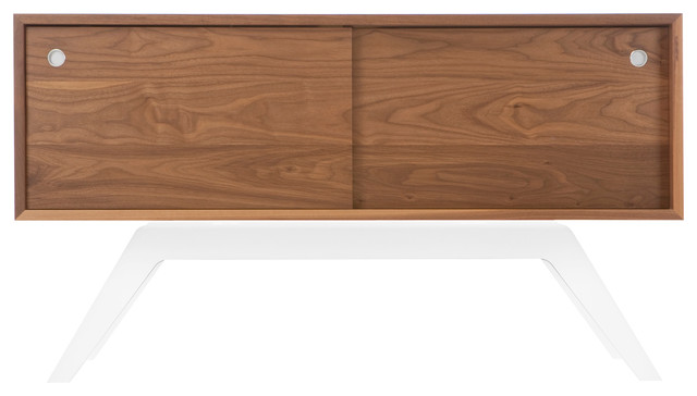 Elko Credenza Small, Walnut, White Base midcentury-buffets-and-sideboards