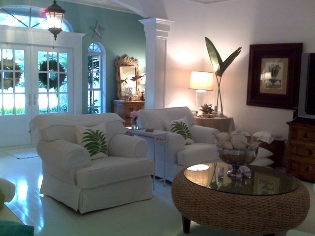 My beachy family room after the floors were painted white in so.florida tropical family room