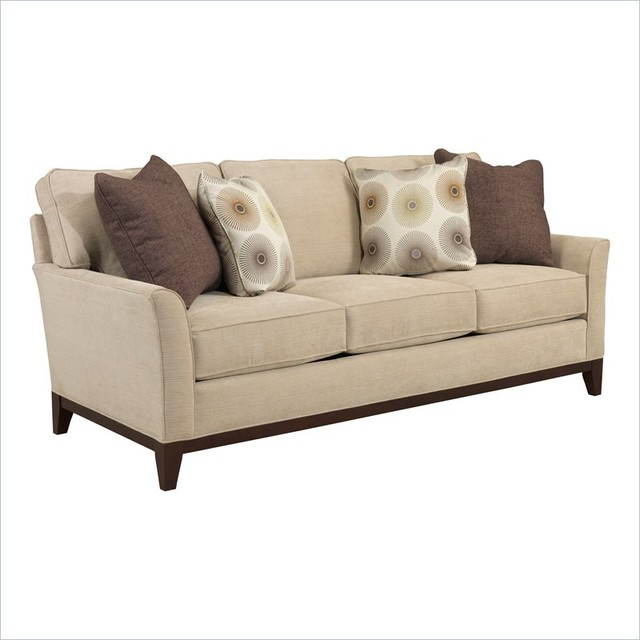 broyhill perspectives three seat beige sofa with cognac. Black Bedroom Furniture Sets. Home Design Ideas