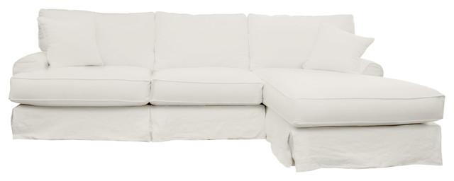 Hartford slipcover sectional right 120 sofa white linen for White linen sectional sofa