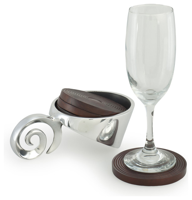 Polished aluminum Coaster holder with 4 wooden coasters contemporary-coasters