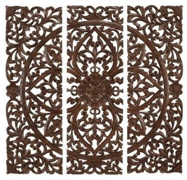 Benzara hand carved wood wall panels sculpture contemporary home decor by amazon - Wooden panel art ...