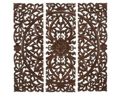 Benzara Hand Carved Wood Wall Panels Sculpture contemporary-home-decor