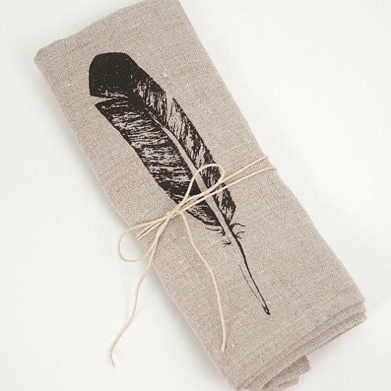 Feather Linen Napkin by Tangerine modern-napkins