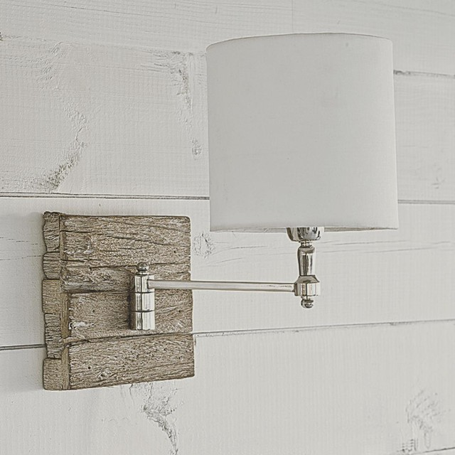 Wooden Wall Lamp Shades : Reclaimed Wood Swing Arm Wall Lamp - Lamp Shades - by Shades of Light