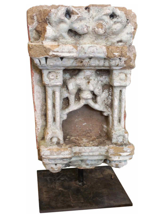 Unique Architectural Statue - Unique architectural element from an old building in Europe that has been mounted on a steel stand. It appears to be Terra Cotta and then layers of plaster that was used to mold the detailing.