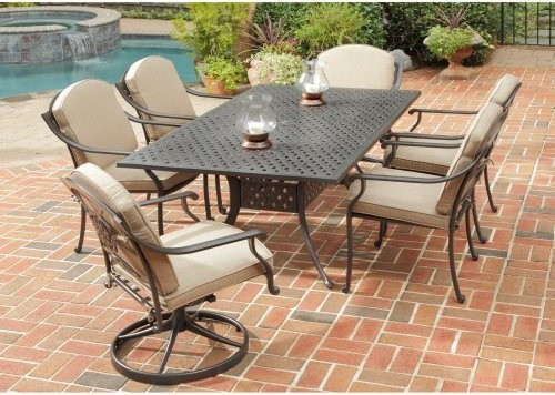 Home Styles Covington 72 In Cast Aluminum Patio Dining Set Seats 6 Contemporary Patio