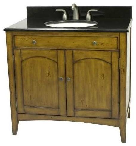 Distressed Honey Vanity bathroom-vanities-and-sink-consoles
