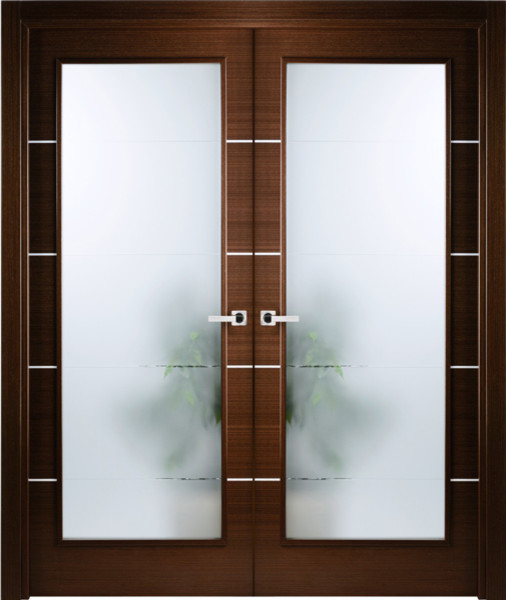 Italian Wenge Interior Double Door W Frosted Glass Decorative Strips Contemporary Interior