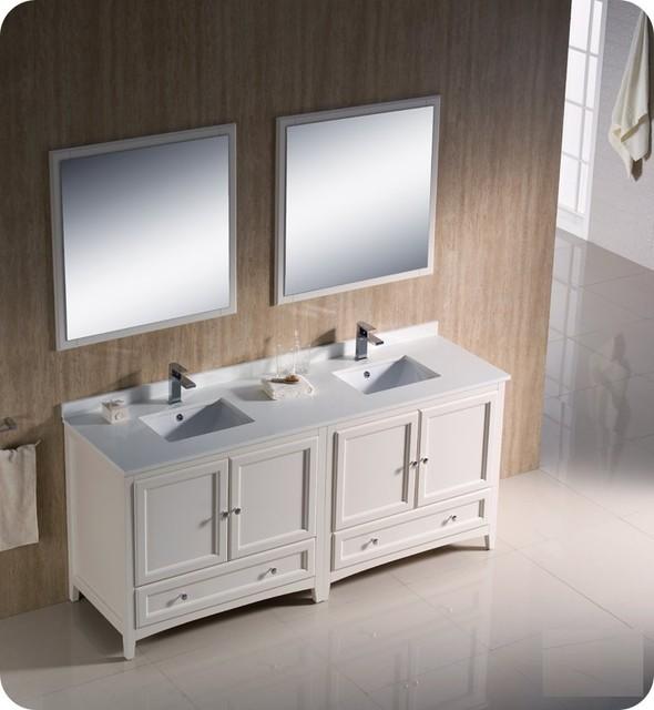 "Fresca Oxford 72"" Antique White Double Sink Bathroom Vanity Set eclectic-bathroom-vanities-and-sink-consoles"