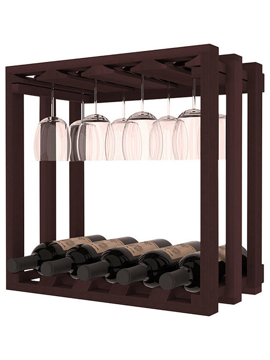 Wine Storage Lattice Stemware Cube in Redwood with Walnut Stain - Designed to stack one on top of the other for space-saving wine storage our stacking cubes are ideal for an expanding collection. Use as a stand alone rack in your kitchen or living space or pair with the 20 Bottle X-Cube Wine Rack and/or the 16-Bottle Cubicle Rack for flexible storage.