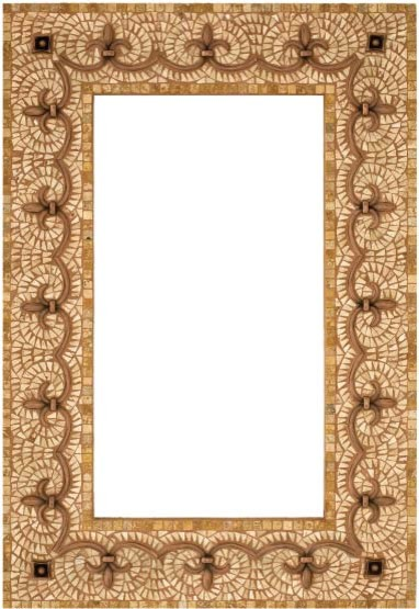 Stone Mosaic Mirror Frame With Metal Inlay Mediterranean Bathroom Mirrors Tampa By