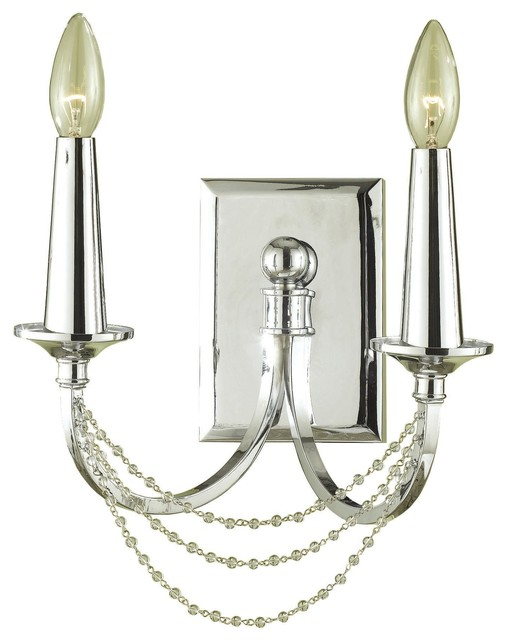 Shelby Hollywood Regency Crystal Bead 2 Light Wall Sconce - Transitional - Wall Sconces - by ...