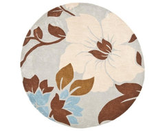 Handmade Avant-Garde Floral Ivory Rug contemporary-rugs