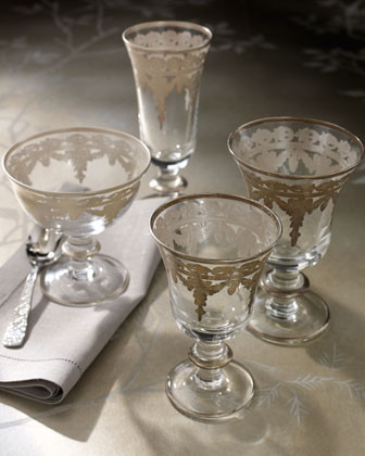 Arte Italica Four Vetro Silver Flutes traditional barware