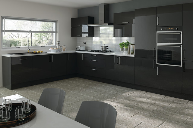 Trends - Lewes Black Metallic - Kitchen Doors - Modern - Kitchen Cabinetry - london - by Kitchen ...