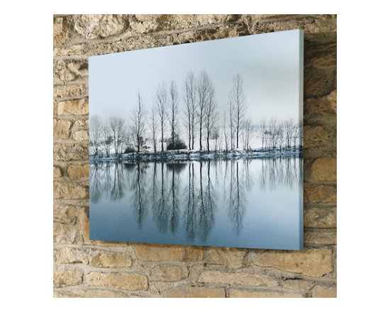 Grandin Road - White Reflection Outdoor Art - Outdoor artwork, depicting a reflective, waterside scene. Gallery wrapped all-weather canvas, so there's no framing necessary. Treated, front and back, with a UV-resistant lacquer to prevent fading. Arrives ready to hang. Enjoy the cool, contemplative landscape captured in our Winter Reflection Outdoor Wall Art while you're gathered around the outdoor fire. This photographic-quality reproduction is printed on all-weather canvas stretched over a hardwood frame. Hand-finished, completely waterproof, and treated with a UV-resistant coating, so you can enjoy in any season.  . Gallery wrapped all-weather canvas, so there's no framing necessary .  .  . Made in USA.