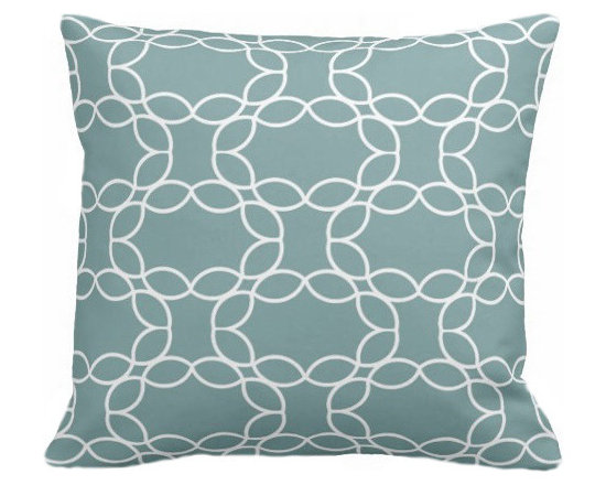 PURE Inspired Design - Petal Ring Organic Pillow Cover, Light Teal/Natural, 18 X 12 - Collection:  PURE Beach