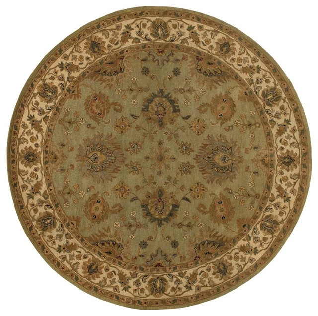 traditional heritage round 8 39 round green beige area rug
