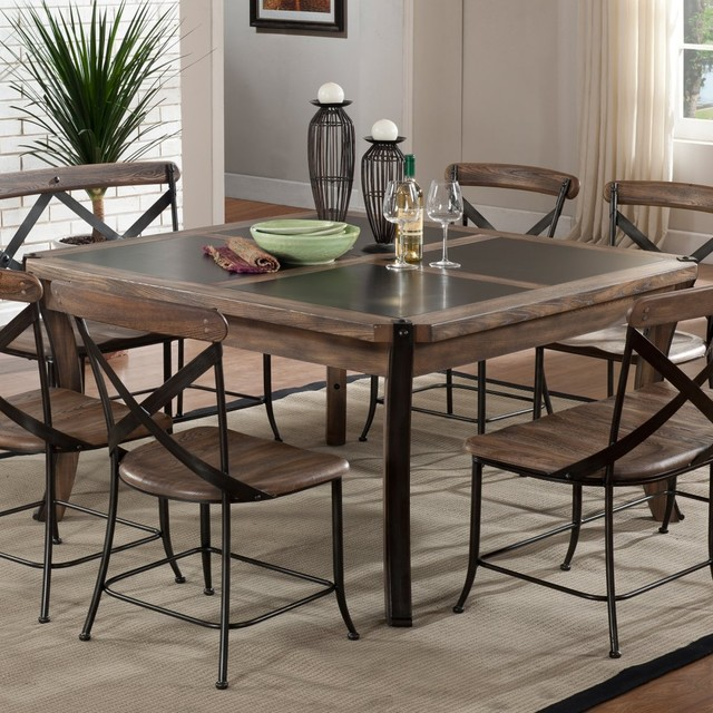 Home Lancaster Wood Metal Dining Table Contemporary Dining Tables