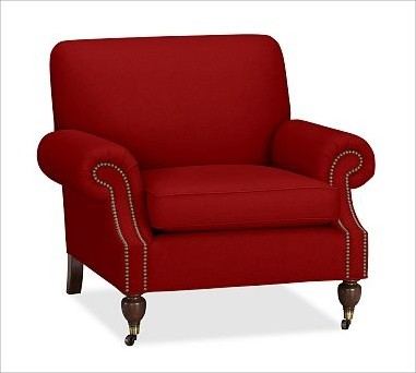 Brooklyn Upholstered Armchair, Twill Sierra Red - Traditional - Armchairs And Accent Chairs - by ...