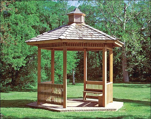 12' x 12' Laminated Wood Hexagon Orchard Pavilion contemporary-gazebos