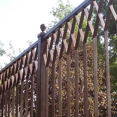 Diamond Pattern Iron Fencing traditional-home-fencing-and-gates