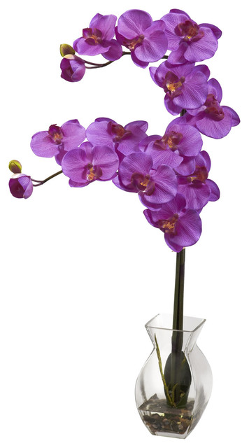 Nearly Natural Phalaenopsis Orchid with Vase Arrangement in Orchid traditional-artificial-flowers