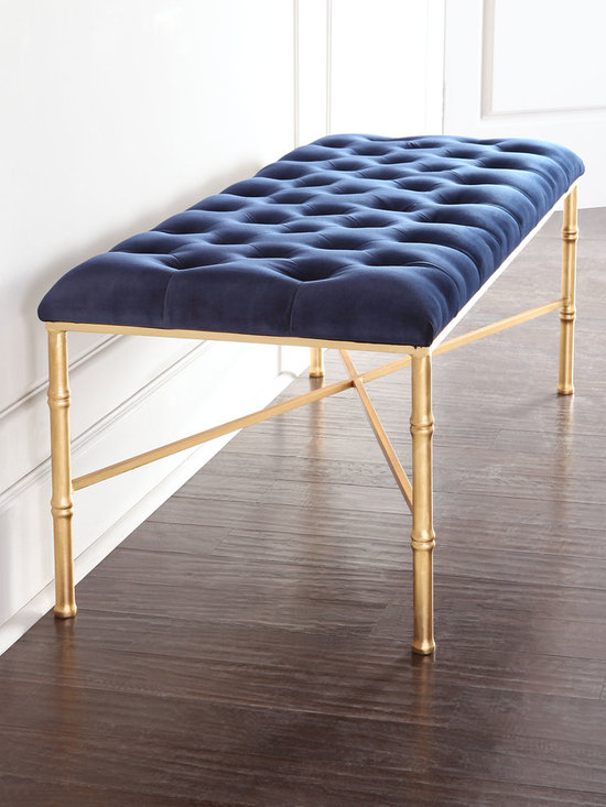 "Horchow - Napoleon Bench - NAVY/GOLD - Napoleon BenchDetailsHandcrafted bench.Iron bamboo-motif frame with hand-painted gold-leaf finish.Seat tufted velvet over wood composite.52""W x 20""D x 19.5""T.Imported.Boxed weight approximately 52 lbs. Please note that this item may require additional shipping charges."