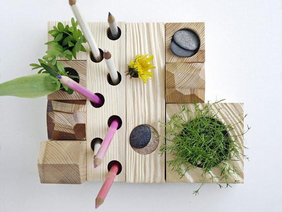 Desk Organizer, Desktop Zen Garden, Natural Wood By KarolinFelixDream contemporary-desk-accessories
