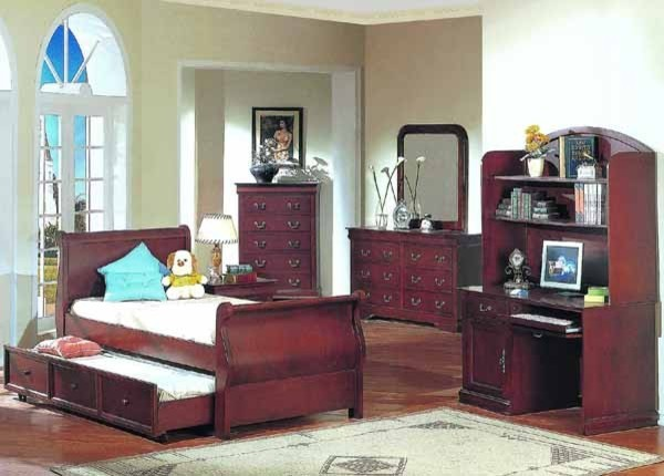 Yuan Tai Furniture - Louis Phillipe Cherry Twin Bed - 4768TWIN traditional-sleigh-beds