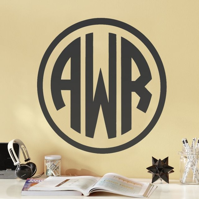 Circle Block Monogram Decal Contemporary Wall Decals By Pbteen
