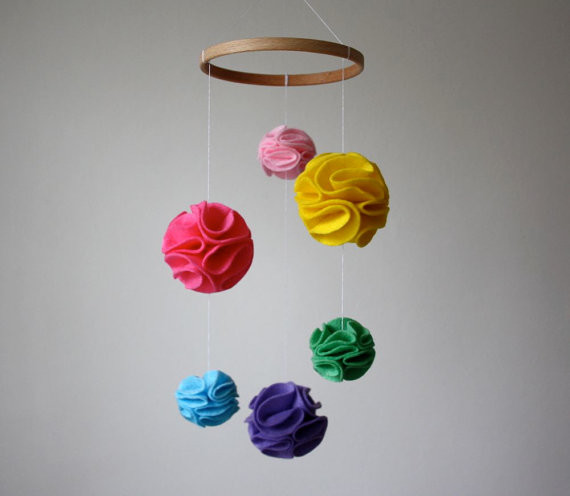 Modern Nursery Mobile Pom Pom Mobile, Rainbow by Little Nest Box modern mobiles