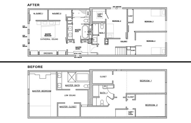Piggy back house floor plan chicago by mpink design llc for Transitional house plans