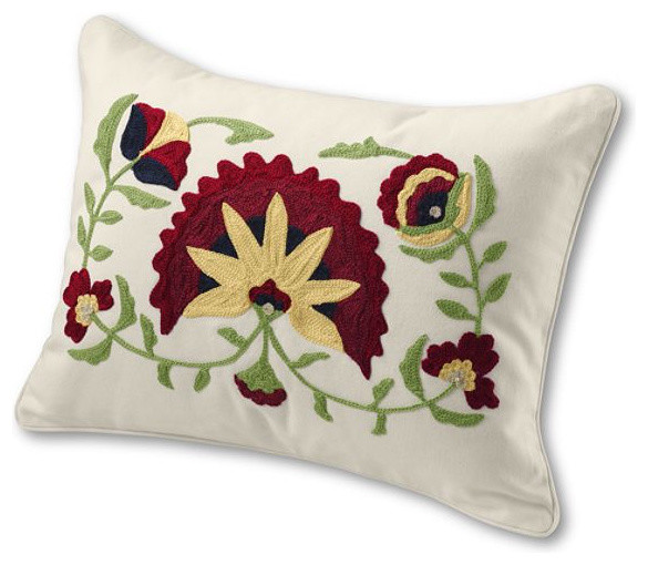 Floral Embroidered Decorative Pillow : 12