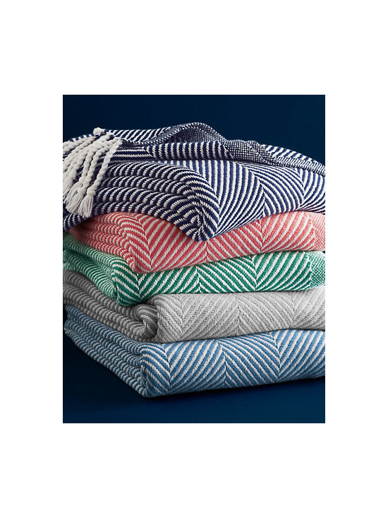Cotton Herringbone Throw - A classic herringbone throw is the perfect way to add charm and make a room feel cozier. These are heirloom-quality and come in beautiful colors — the Apple or Island Blue would be great if you're looking to create a little seaside getaway vibe.