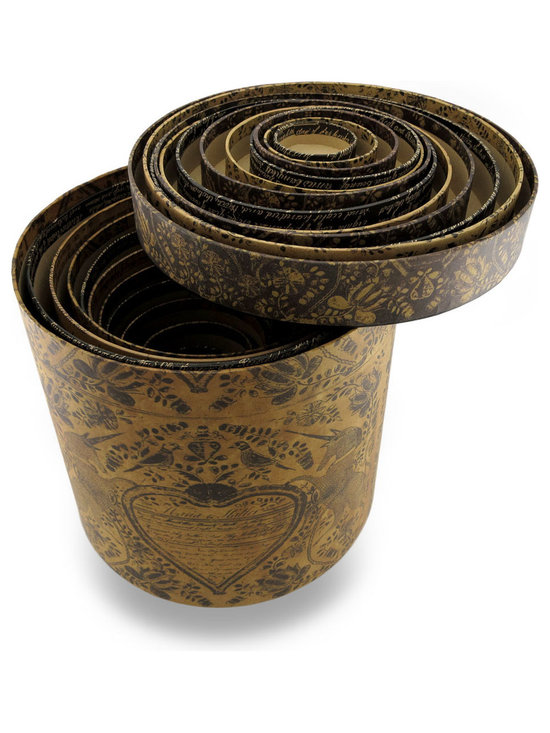Zeckos - Set of 12 Old Writing Themed Round Storage Nesting Boxes - This eye-catching set of 12 nesting boxes stacks up to any decor Reminiscent of a time gone by, this set will right be at home on any table or shelf, and easily blends in with most decor styles with a black and tan vintage finish decorated with old handwriting. The largest measures 10 inches (25 cm) high and 10 3/4 inches (27 cm) in diameter while the smallest measures 3 1/2 inches (9 cm) high and 2 1/8 inches (2 cm) in diameter, and they all neatly stack inside each other for storage. This set is great for storing craft supplies, old photos or odds and ends, and makes a wonderful housewarming gift sure to be enjoyed