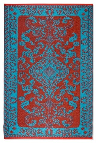 koko company classic duo tone indoor outdoor area rug red turquoise eclectic rugs by. Black Bedroom Furniture Sets. Home Design Ideas