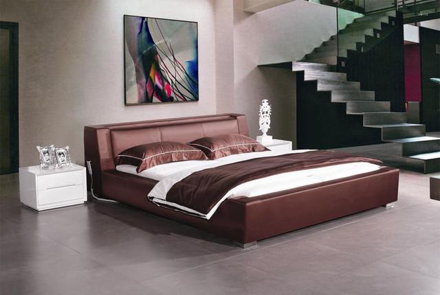 Berlin - Modern Mahogany Leather Platform Bed modern-beds