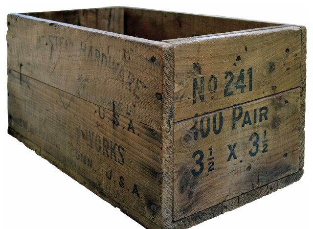 Old wooden tool crate modern storage bins and boxes for Old wooden crates