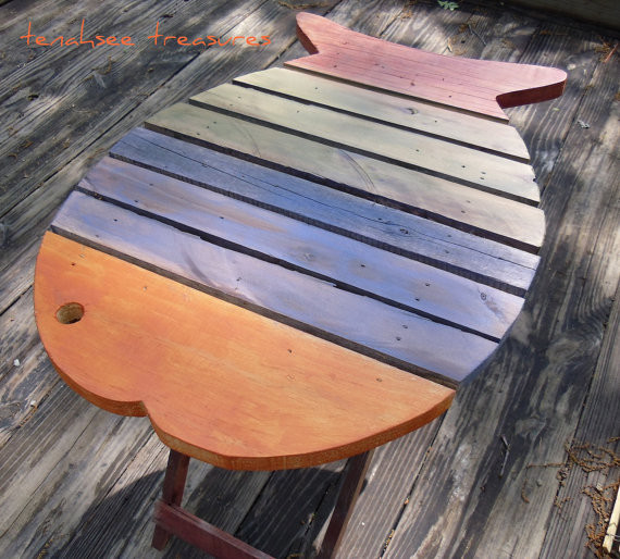 Wooden Fish Table Multicolor By Tenahsee Treasures tropical side tables and accent tables