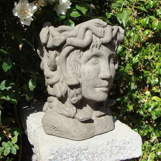 Designer Stone Medusa Head Planter 2078 Contemporary