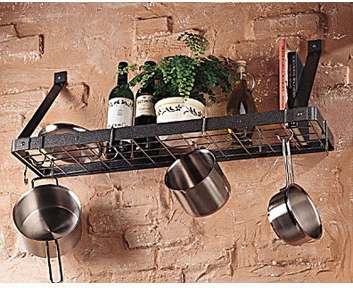 What We Like About This Pot RackThe Gourmet Bookshelf Wall Mount Pot Rack with G contemporary-pot-racks-and-accessories