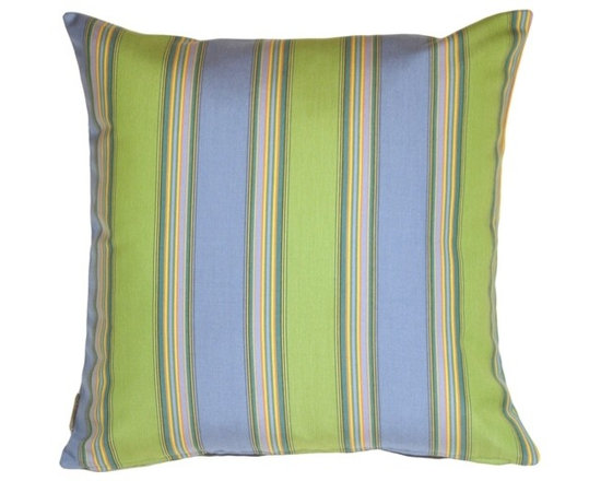 Pillow Decor - Pillow Decor - Sunbrella Bravada Limelite 20 x 20 Outdoor Pillow - Snazzy stripes of blue and green create this stylish outdoor pillow. Sunbrella Outdoor fabric, Bravada Limelight. Mixes well with other pillows in the series for a sophisticated touch. Add some softness and comfort to your sunroom or outdoor room today!