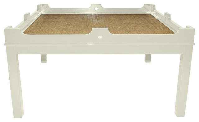 Fairfield 48 Square Coffee Table Creme With Natural Raffia Traditional Coffee Tables By