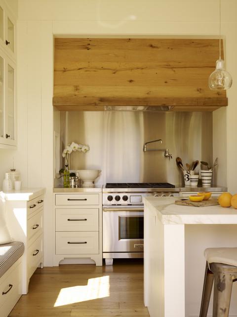 Oak boards range hood contemporary-kitchen